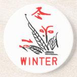 Práctico de costa del invierno de Mahjong, fondo b Posavasos Manualidades