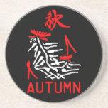 Práctico de costa del otoño de Mahjong, fondo negr Posavasos Para Bebidas