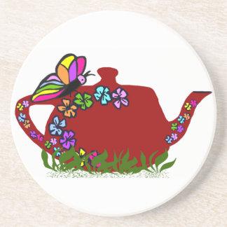 Práctico de costa del pote del té de las flores de posavasos cerveza