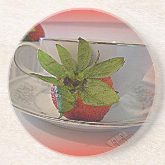 práctico de costa del té de la fresa posavasos personalizados