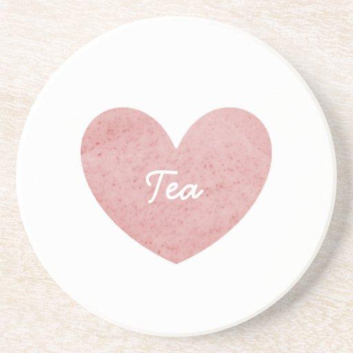 Práctico de costa del té rosado posavasos diseño