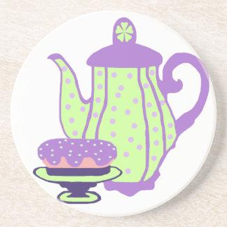 Práctico de costa del té y de la torta posavasos personalizados
