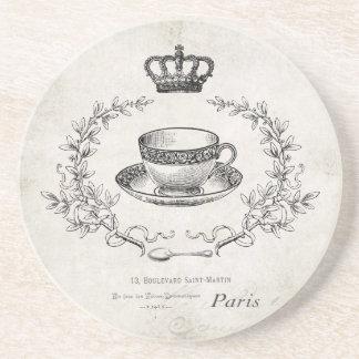 Práctico de costa francés de la piedra de la taza  posavasos diseño