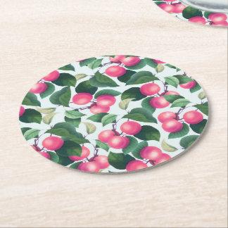 Práctico de costa redondo de la fruta tropical posavasos de papel redondo