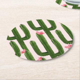 Práctico de costa redondo de los cactus felices posavasos de papel redondo