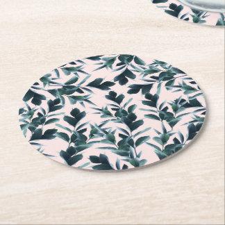 Práctico de costa redondo del modelo botánico posavasos de papel redondo