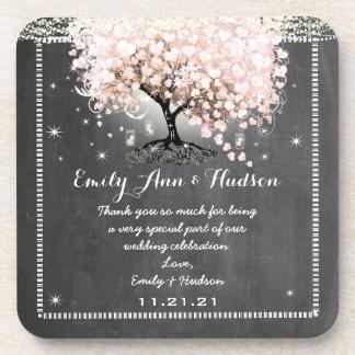 Práctico de costa rosado del boda del árbol de la apoyavasos