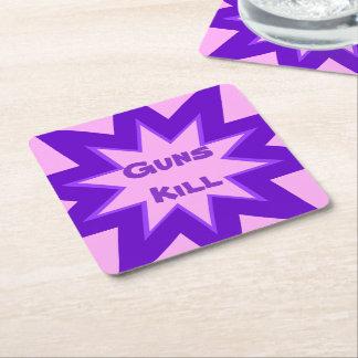 Práctico de costa rosado y púrpura del papel de la posavasos de cartón cuadrado