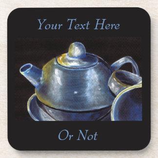 Prácticos de costa azules del juego de té (Lorri Posavasos