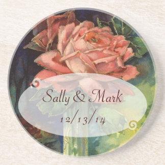 Prácticos de costa color de rosa rosados del boda  apoyavasos