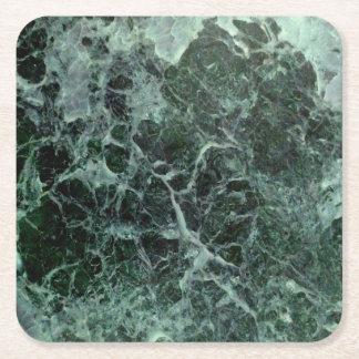 Prácticos de costa de mármol verdes posavasos de papel cuadrado