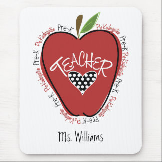 Pre rojo Apple del profesor de K Alfombrillas De Raton