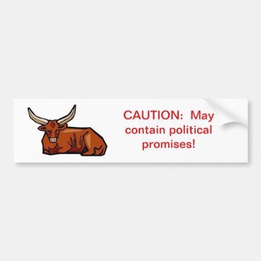 Precaución:  Puede contener promesas políticas Etiqueta De Parachoque