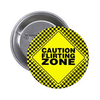 Precaución que liga zona - amarillo y negro chapa redonda de 5 cm