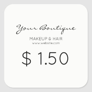 Precio minimalista del boutique pegatina cuadrada