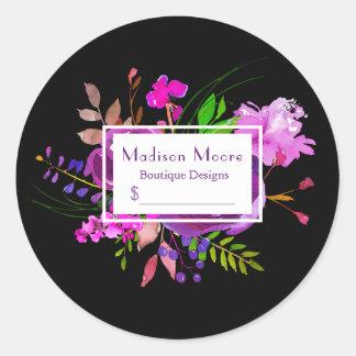 Precio púrpura del ramo floral de la acuarela pegatina redonda