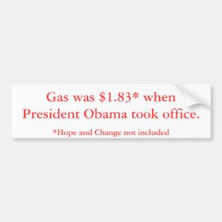Precios de la gasolina de presidente Obama Pegatina Para Coche