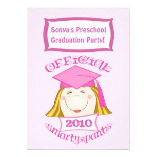 Preescolar de los chicas fiesta de graduación de invitaciones personalizada