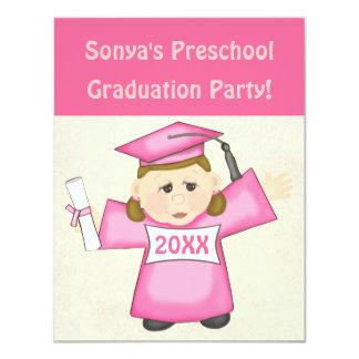 Preescolar de los chicas/fiesta de graduación de invitación 10,8 x 13,9 cm