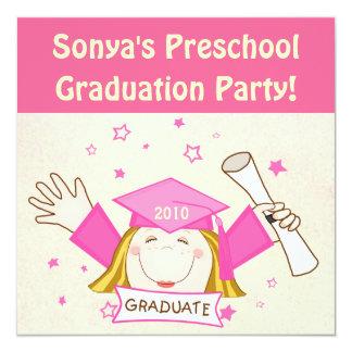 Preescolar de los chicas/fiesta de graduación de invitación 13,3 cm x 13,3cm