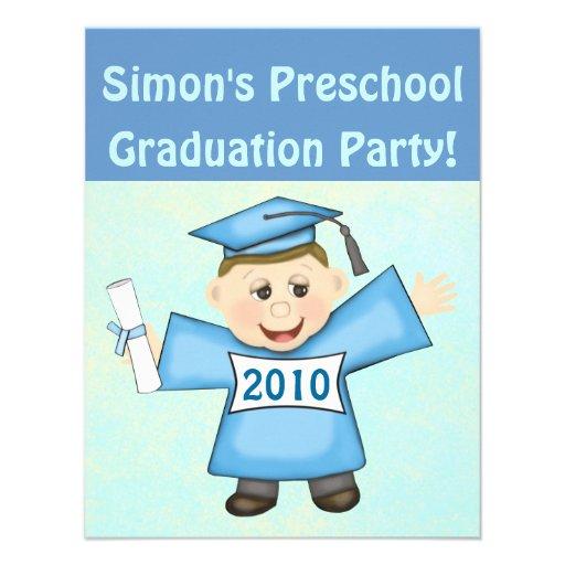 Preescolar de los muchachos/fiesta de graduación d invitación