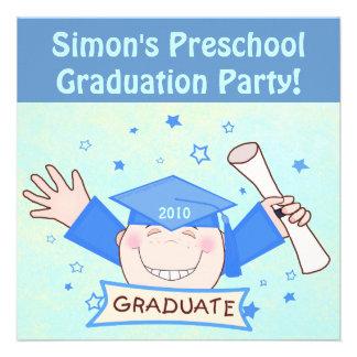 Preescolar de los muchachos fiesta de graduación comunicado personalizado