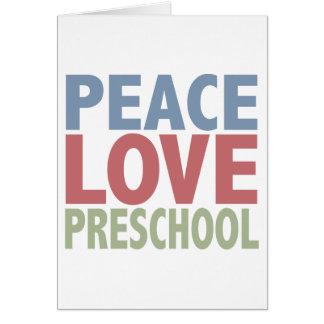 Preescolar del amor de la paz tarjeta de felicitación