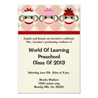 Preescolar del mono del calcetín o graduación de invitación 8,9 x 12,7 cm