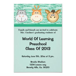 Preescolar lindo de los animales o graduación de invitación 8,9 x 12,7 cm