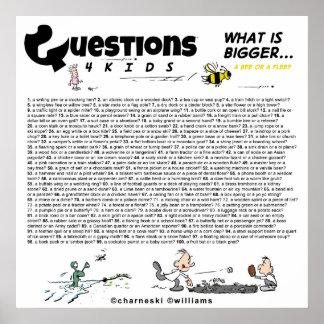 Pregunta a 4 niños (cuál es más grande) reservan/e posters