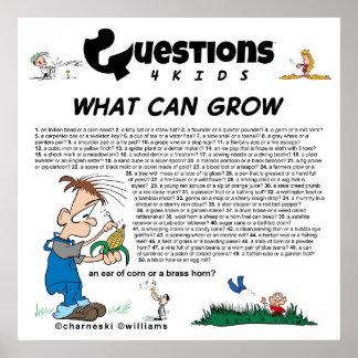 Pregunta a 4 niños (qué pueden crecer) póster