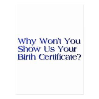 pregunta de la partida de nacimiento tarjetas postales