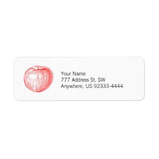 Prensa de copiar roja Apple de Apple de caramelo Etiqueta De Remitente