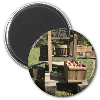 Prensa de sidra antigua de Apple Imán Redondo 5 Cm