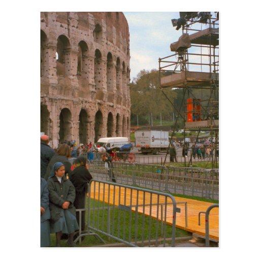 Preparaciones en el Colosseum Tarjeta Postal