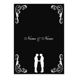 Prepare y prepare el boda gay Invitar-Negro y el Invitación 12,7 X 17,8 Cm