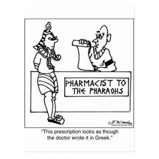 Prescripción egipcia escrita adentro postal