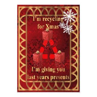 Presentes de reciclaje divertidos para el navidad invitación 12,7 x 17,8 cm
