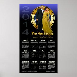Presidente 2014 Barack y calendario de Michelle Ob Poster