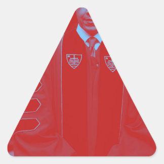 Presidente Barack Obama en la universidad 2. de Pegatina Triangular