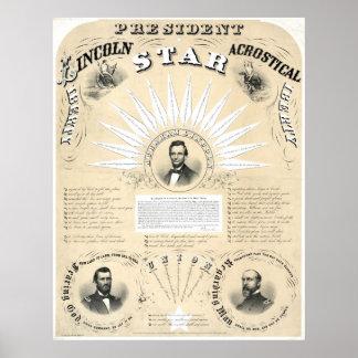 Presidente Lincoln Acrostic Star 1864 Impresiones