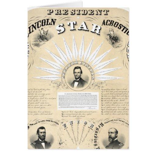 Presidente Lincoln Acrostic Star 1864 Tarjetas