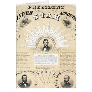 Presidente Lincoln Acrostic Star 1864 Tarjeta De Felicitación