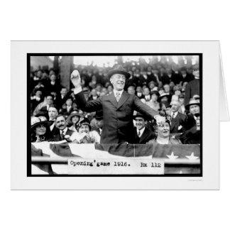 Presidente Throwing Baseball 1916 Tarjeta De Felicitación