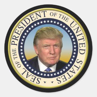 Presidente Trump Photo Presidential Seal Pegatina Redonda