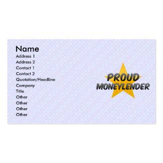 Prestamista orgulloso tarjetas de visita