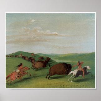 Pri 1832 del arte de la caza del búfalo de indios  póster
