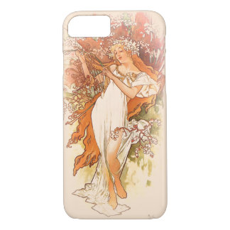 Primavera - arte Nouveau de Alfonso Mucha Funda iPhone 7