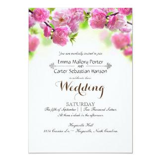 Primavera elegante simple subió casando la invitación 12,7 x 17,8 cm