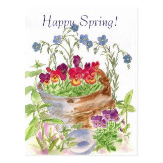 Primavera feliz del ramo del cubo de la flor del postal